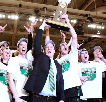Vermont's John Becker is the second first-year coach to win the conference tourney championship.  (US Presswire)
