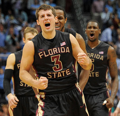 Luke Loucks is pumped after his long jumper puts Florida State up three points with 13.4 seconds left.  (US Presswire)