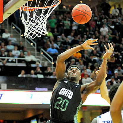 Ricardo Johnson goes up for rebound during the first half of Ohio's MAC title game against Akron. (US Presswire)