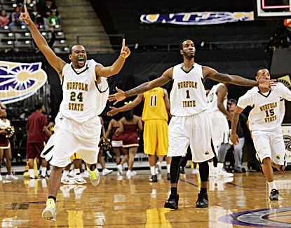 Norfolk State's Brandon Wheeless (left) and Rob Johnson celebrate after beating the Bethune-Cookman 73-70. (US Presswire)