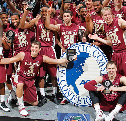 Florida State celebrates after becoming the second school from outside North Carolina to win the ACC in 16 years.  (Getty Images)