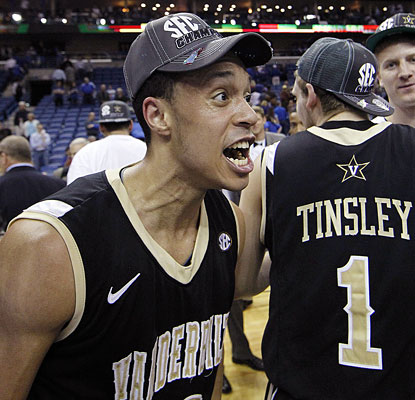 Tournament MVP John Jenkins celebrates Vanderbilt's first SEC title in 61 years.  (AP)