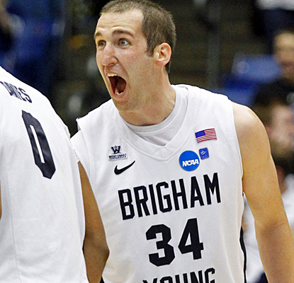 BYU's Noah Hartsock reacts after leading his team to a historic comeback with a game-high 23 points against Iona. (AP)