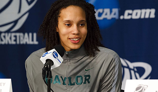 Brittney Griner talks to reporters after the rout of Florida. (AP)