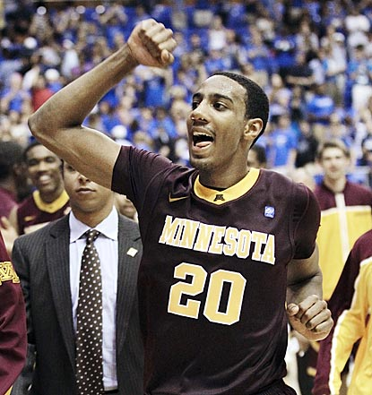 Minnesota guard Andre Hollins (20) leaves the court after the Gophers hold on to earn a berth in the NIT's final four.  (AP)