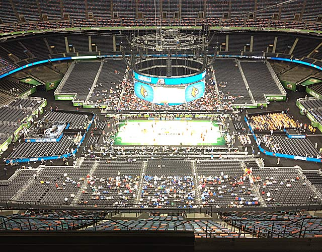 Seats at the extreme top of the Superdome cost $180, and try not to squint.(Photo by Dennis Dodd)