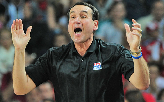 Mike Krzyzewski followed Team USA's 2008 Olympic gold with the 2010 world title. (Getty Images)