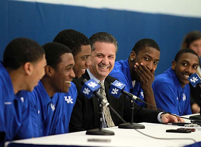 Think John Calipari's sorry to see so many talented players leaving UK? Think again. (Getty Images)