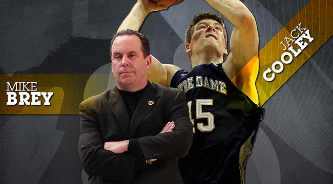 Coach Mike Brey and Jack Cooley (CBSSports.com Original)