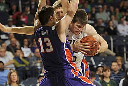 Jack Cooley scores the first nine points of the game, ending up with 19 as the Irish hold on.  (AP)