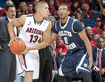 Nick Johnson (12 points, 6 assists) and Arizona get all they can handle from Charleston Southern. (US Presswire)