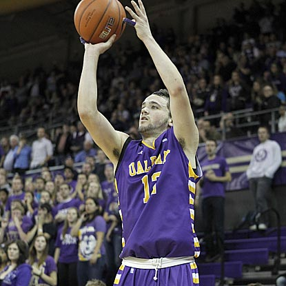 Albany's Peter Hooley makes this 3-pointer to put the Great Danes ahead 61-60 with 35 seconds left. (US Presswire)