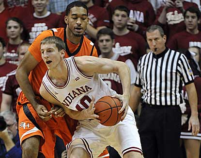 Indiana's Cody Zeller works down low in the Hoosiers' blowout win over Sam Houston State. (AP)