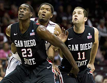 San Diego State's Deshawn Stephens, left, and James Rahon box out Missouri State's Gavin Thurman. (AP)
