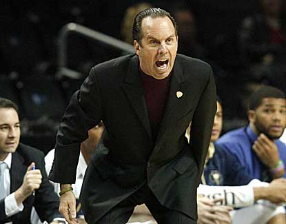 Notre Dame coach Mike Brey calls out to his team during the Irish's win over BYU on Saturday. (AP)
