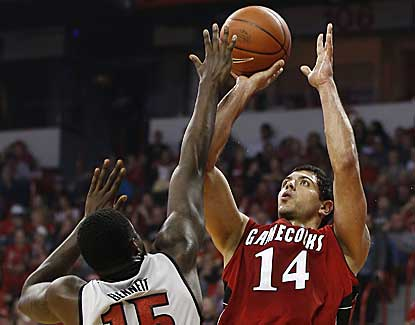 UNLV's Anthony Bennett applies pressure to Jacksonville State's Rinaldo Mafra on Saturaday. (AP)
