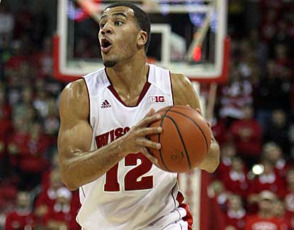 Wisconsin guard Traevon Jackson looks to pass Sunday during the Badgers' win over Cornell. (US Presswire)