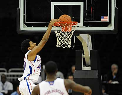 Kansas forward Kevin Young flushes the jam during the first half of KU's win over Washington State. (US Presswire)