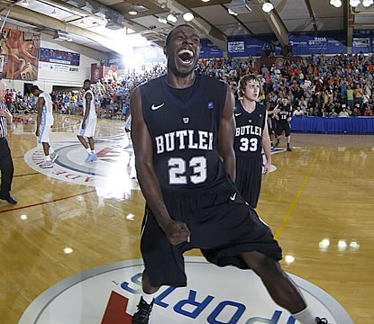 It's not March Madness yet, but Khyle Marshall and Butler celebrate like bracket busters after knocking off North Carolina.  (US Presswire)