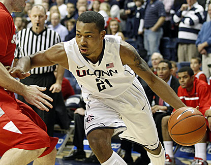 Connecticut guard Omar Calhoun scores 14 points against Stony Brook, the 4th time he's scored in double figures this season. (US Presswire)