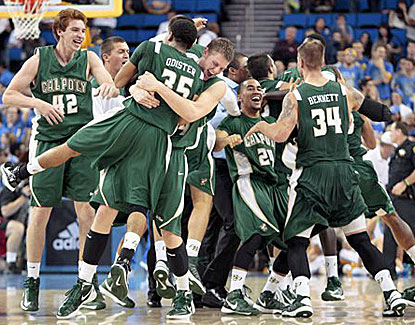 Cal Poly players celebrate after defeating UCLA on Sunday. It was the highest-ranked team ever defeated by Cal Poly. (AP)