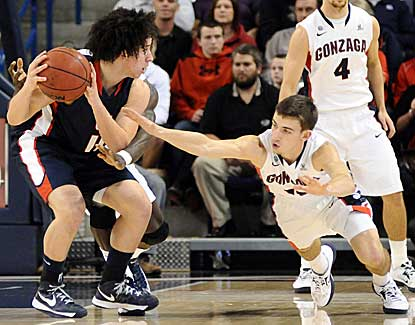 Gonzaga guard David Stockton reaches for the ball in the Bulldogs' win over Lewis and Clark. (US Presswire)
