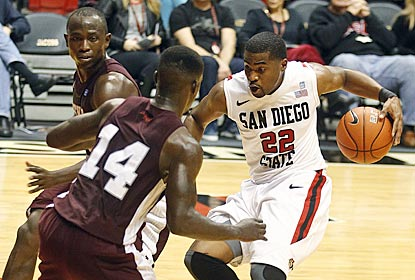 San Diego State guard Chase Tapley drives against Texas Southern's Raymond Penn (14) and Fred Sturdivant during the first half. (AP)