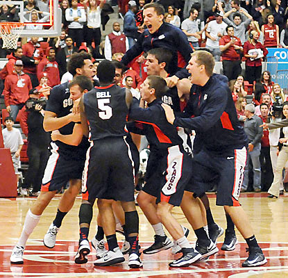 Gonzaga players rejoice after putting away the Cougars with a game-winning layup with two ticks left. (US Presswire)