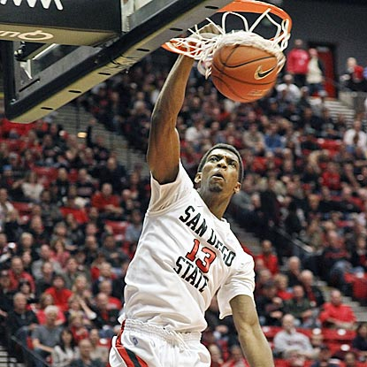 Thanks in part of Winston Shepard's high-percentage shot here, San Diego State winds up shooting 55.8 percent from the field.  (AP)