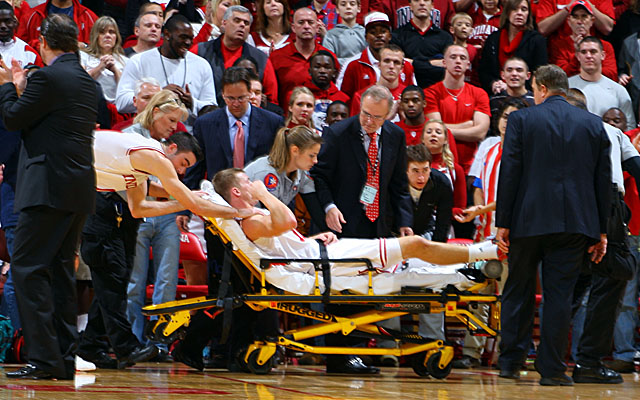 Etherington is wheeled off late in the first half of Indiana's win over CCSU. (US Presswire)