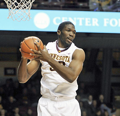 Trevor Mbakwe hauls in a career-best 18 rebounds to go along with his 14 points off the bench. (AP)