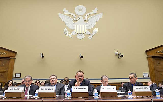 NFL legend Dick Butkus testifies during a congressional hearing on HGH testing on Wednesday. (AP)