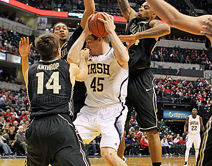 Notre Dame forward Jack Cooley scores 18 points in just 27 minutes of play for the Irish against Purdue. (US Presswire)