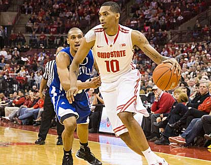 Ohio State's LaQuinton Ross, who had eight points and two boards, drives past Will Weeks. (US Presswire)