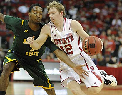 NC State guard Tyler Lewis scores six points in NC State's 84-62 win over Norfolk State. (US Presswire)