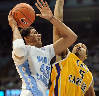 James Michael McAdoo chips in with 19 points as the Tar Heels (8-2) avert a challenge from East Carolina.  (AP)