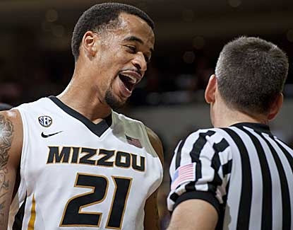 Mizzou senior Laurence Bowers jokes with a referee during the Tigers' 102-51 laugher over SC St. (AP)