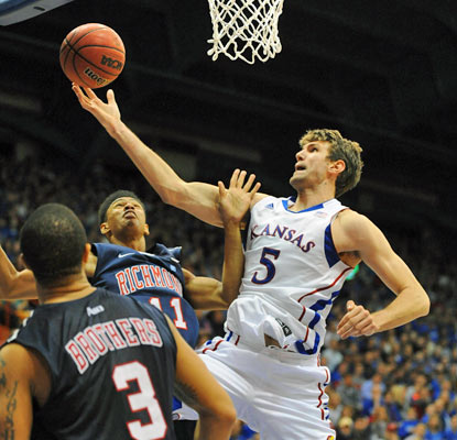 Jeff Withey has his way in the post against Richmond, scoring 17 points and grabbing 13 rebounds.  (US Presswire)