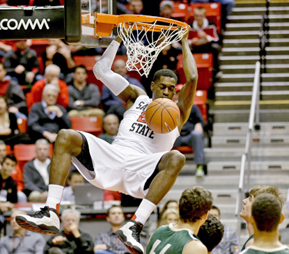 San Diego State's Deshawn Stephens dunks against Point Loma Nazarene during the Aztecs' 27-point win. (AP)