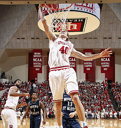 Indiana's Cody Zeller scores 16 points and grabs six rebounds in the Hoosiers' win over Mount St. Mary's. (Getty Images)