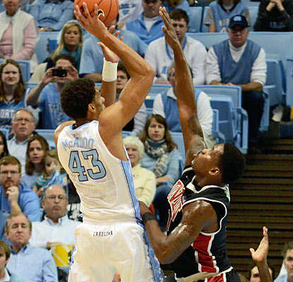 Forward James Michael McAdoo (13 points) is one of five UNC players to reach double figures in scoring. (US Presswire)