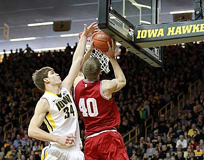 Indiana center Cody Zeller scores 15 of his 19 points in the second half to lead Indiana past Iowa. (US Presswire)