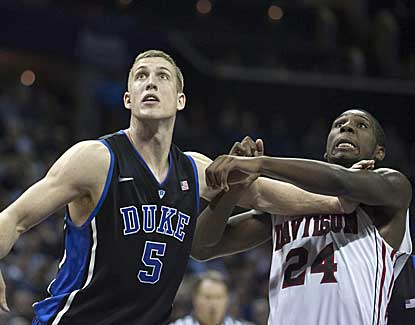Duke's Mason Plumlee scores 8 of his 10 points in the second half as the Blue Devils pull away from Davidson. (US Presswire)