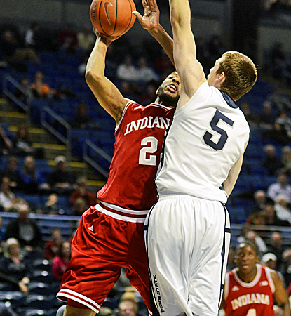 Indiana's Christian Watford (left) looks to score two of his 16 points as Penn State's Donovon Jack defends. (AP)