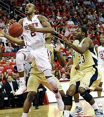 Lorenzo Brown drives to the basket for two of his 21 points against Georgia Tech. (AP)