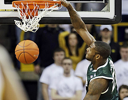 Branden Dawson scores a career-high 17 points, including a late steal and tiebreaking dunk for Michigan State. (AP)