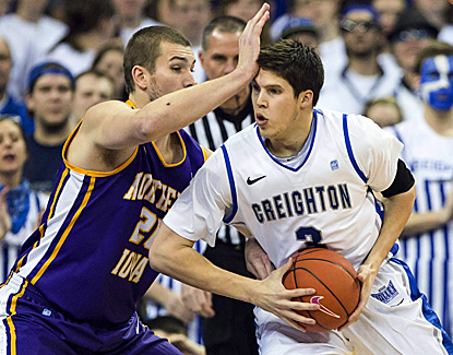 Northern Iowa's Jake Koch (left) tries to slow Creighton's Doug McDermott, who finishes with 31 points.   (AP)