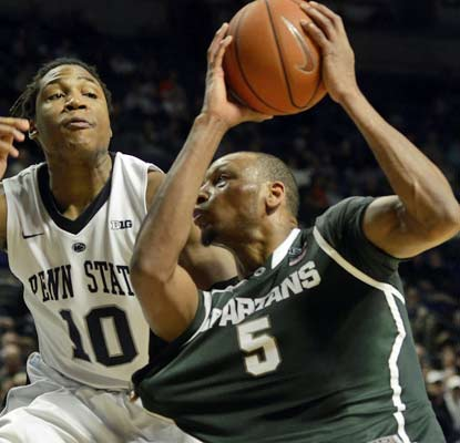 The Spartans' Adreian Payne ends an eventful day with a career-best 20 points in the win over Penn State.  (AP)