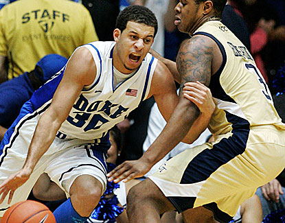 Duke's Seth Curry scores 24 points and ends a 5-minute field goal drought by swishing a deep 3-pointer. (US Presswire)