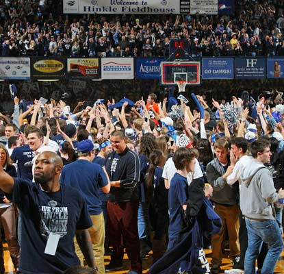 The fans at Hinkle Fieldhouse go wild after Butler's improbable, memorable win over No. 8 Gonzaga.  (US Presswire)